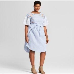Ava & Viv blue embroidered shirt dress